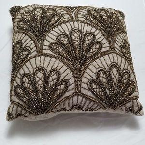 Beaded Tan Brown Decorative Throw Accent Pillow